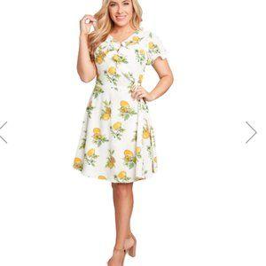 Eva Rose Lemon Wrap Dress with Ruffle Neck Trim